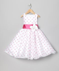 Love this Pink Polka Dot Organza Dress - Infant, Toddler & Girls by Kid Fashion on #zulily! #zulilyfinds