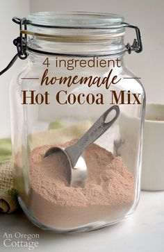 Make your own healthier homemade hot cocoa mix with 4 ingredients and this recipe! It's super easy and perfect for cold nights, after playing in the snow, and camping. Needs only water to make this hot chocolate! #cocoa #hotcocoa #hotchocolate #drinks
