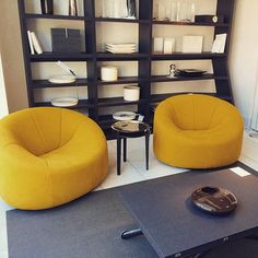 O-Ba table by Pagnon & Pelhaitre and Pumpkin armchairs by Pierre Paulin in Alcantara Curry at our showroom. Live Beautifully! www.lignerosetsf.com  #Home #Showroom #LigneRosetSF #Interior