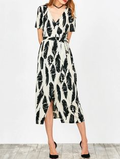 SHARE & Get it FREE | Feather Print Wrap Maxi Dress - White SFor Fashion Lovers only:80,000  Items • New Arrivals Daily Join Zaful: Get YOUR $50 NOW!