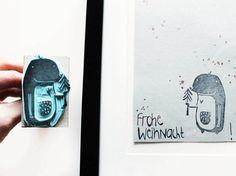 Kostenloses DIY: Maulwurf Stempel zum Gestalten von Weihnachtskarten selber machen / Free DIY: mole stamp for crafting your own christmas cards via DaWanda.com