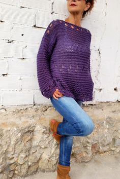 Loose knit sweater purple sweater winter sweater women's sweater hand knit sweater woman knitwear knit pullover (95.00 EUR) by EstherTg