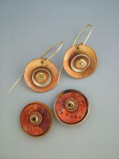 Metal, polymer disc earrings by Julie Picarello.  #polymer #clay #earrings