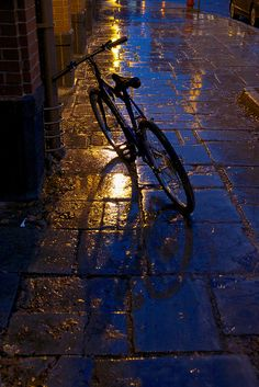 Tumblr                                                                                       bicycle on a rainy sidewalk