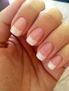 Glittering White French Manicure Design by Tinemor