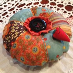 Homemade pin cushion to go with fun painted sewing box - my next project.