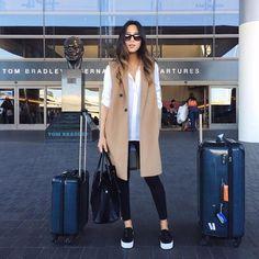 Aimee Song Airport Outfit Coat Slipons Michael Kors