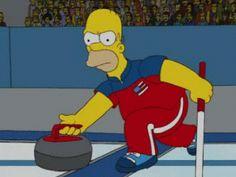 Homer Curling Funny Sports, Sports Humor, Olympic Curling, Curls Rock, 2018 Winter Olympics, Olympic Sports, Boy Meets, Raptors, Winter Sports