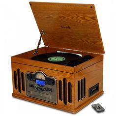 Toca Discos Retrô- Crosley rádio, CD, USB, MP3, fita K7