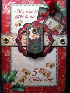 Inspiration Christmas ATC Artist Trading Card 5th day of Christmas using  #Graphic45 The 12 days of Christmas collection.