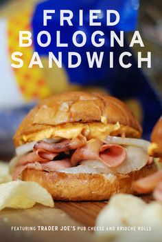 Sean Weber of Snack Fixation shares his Fried Bologna Sandwich recipe featuring Trader Joe's Brioche Rolls and Trader Joe's Pub Cheese. Fried Bologna, Bologna Sandwich, Brioche Rolls, Breakfast Desayunos, Food Goals, Homemade Soup, Wrap Sandwiches, Pinterest Recipes, Sandwich Recipes