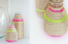 Turn milk bottles to pretty vases by wrapping yarn around them. This February, we are talking colours and neon is still ruling the roost. #Spring #DIY