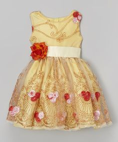 Look at this #zulilyfind! Yellow Floral Embroidered A-Line Dress - Infant, Toddler & Girls by Kid Fashion #zulilyfinds