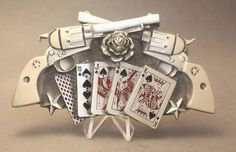 Pistols, Cards & Rose Belt Buckle by Great American Products, available at our eBay store! $30