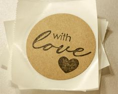 """Rustic Stickers with """"With Love"""" Stamp 