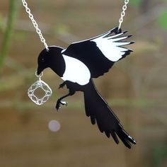 Magpie laser-cut acrylic necklace