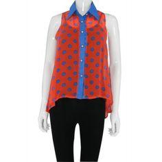 Orange & Blue Contrast Polka Dot Sheer Top http://www.trendzystreet.com/clothing/tops-blouses/orange-blue-contrast-polka-dot-sheer-top-tzs5740