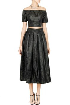 Black brocade twin set    #black #skirtset #carma #carmaonlineshop #style #fashion #designer #indianfashion #indiandesigner #ankitajuneja #gown #couture #shopnow