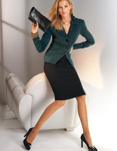 Black Pencil Skirt Green Blazer and Black High Heels Business Mode, Business Chic, Business Attire, Office Fashion, Work Fashion, Fashion Outfits, Fashion Trends, Madeleine Fashion, Look Office