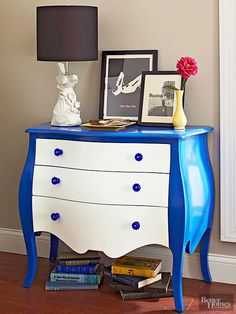Highlight a curvy silhouette by painting the frame of a dresser one color and the drawer fronts in a contrasting color. Here, a glossy blue hugs the dresser's curves, and the drawers pop in semigloss white. Match new hardware to the frame color and your makeover is complete.