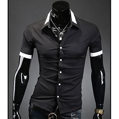 Men's Personality Neck Opening Casual Short Sleeve Shirt - GBP £ 15.03