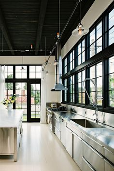 Modern Commercial Kitchen Design for Ideas: Marvelous Industrial Kitchen Space For Commercial Kitchen Design With Wooden Deck Flooring And G...