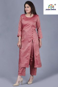 Pinkish Silk Side Slit Kurti with Straight Pants - 12 dress Designs pants ideas Kurti Sleeves Design, Kurta Neck Design, Sleeves Designs For Dresses, Dress Neck Designs, Stylish Dress Designs, Blouse Designs, Silk Kurti Designs, Salwar Designs, Kurta Designs Women