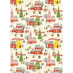 With this perfect Christmas Village wrapping paper, you can make your presents standout! Printed on Cavallini's archival Italian paper.<br><br>Size - 20 x note: Given the delicat Vintage Christmas Wrapping Paper, Christmas Gift Wrapping, Retro Christmas, Vintage Holiday, Christmas Music Box, Listen To Christmas Music, Christmas Journal, Cabin Christmas, Christmas Train