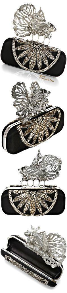 Alexander McQueen Embellished Fish Clutch — Très Haute D Alexandre Mcqueen, Fashion Moda, Beautiful Bags, Evening Bags, Purses And Handbags, Jimmy Choo, Black Silver, Clutches, Fashion Accessories