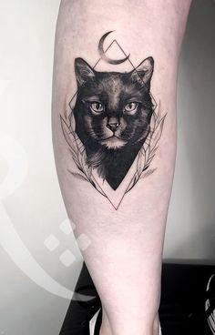 Cat Face Tattoos, Cat Portrait Tattoos, Black Cat Tattoos, Mini Tattoos, Animal Tattoos, Body Art Tattoos, Small Tattoos, Sleeve Tattoos, Tatoos