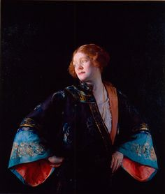 Joseph Rodefer DeCamp (American, 1858–1923) | The Blue Mandarin Coat (The Blue Kimono) | 1922 | Oil on canvas | 43 x 37 1/4 inches | Purchase with bequest of William Gordy, funds from Alfred Austell Thornton in memory of Leila Austell Thornton and Albert Edward Thornton, Sr., and Sarah Miller Venable and William Hoyt Venable, the Fine Art Collectors with leadership gifts from Mr. and Mrs. Terry Stent, Mrs. Austin P. Kelley, and Mr. and Mrs. Allen P. McDaniel, Fay and Barrett Howell Fund…