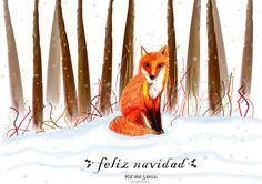 winter illustration fox in the woods merry christmas navidad