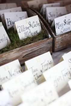 Moss or grass and boxes - escort Card Display