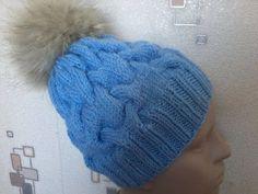 Вязание шапки с объемными косами на спицах.Knitted hat with braids volume on the spokes. - YouTube