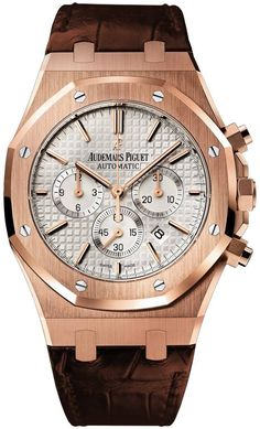 Buy this Audemars Piguet Royal Oak Chronograph Rose Gold On Strap here at Exquisite Timepieces, we are Authorized Dealers Fine Watches, Cool Watches, Rolex Watches, Dream Watches, Audemars Piguet Watches, Audemars Piguet Royal Oak, Mens Rose Gold Watch, Le Locle, Hand Watch