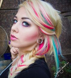 Blonde Hair with Pink and Aqua Streaks