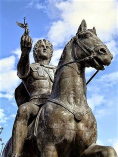 """""""we, on the contrary, shall fight for #Greece, and our hearts will be in it"""" ~ Alexander the Great, ancient Greek kingdom of #Macedonia  Alexander the Great and Bucephalus in the ancient city of Pella (Thessaloniki)  historical #Macedonia in Greece Photo: @carolemadge"""