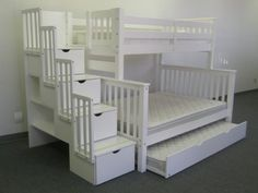 Stairway Bunk Bed Twin over Full in White with 4 Drawers Built in to the Steps and a Twin Trundle by Bedz King, http://www.amazon.com/dp/B006ZP34G6/ref=cm_sw_r_pi_dp_mZnirb11SQ835