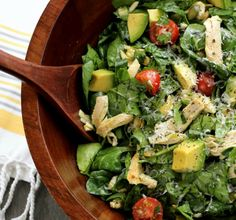 This spinach salad is healthy as can be! Lean chicken and avocado are lightly dressed with heart-healthy oils, citrus juice and a touch of honey mustard. Spinach Salad With Chicken, Spinach And Cheese, Spinach Stuffed Chicken, Chicken Salad Recipes, Healthy Salad Recipes, Avocado Chicken, Mayo Chicken, Yogurt Chicken, Cream Chicken