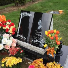 Custom grave marker with diamond etched portrait by Pacific Coast Memorials