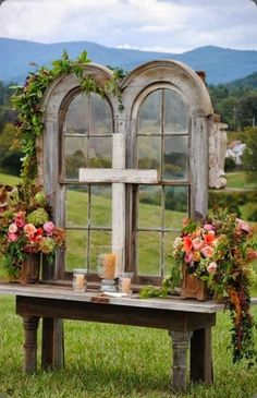 Old Church Window for Country Wedding - Unique Alternative Ideas for Decorating the Altar for a Wedding - EverAfterGuide