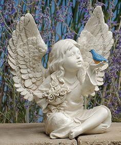 8u0027u0027 Blue Bird U0026 Cherub Garden Figurine