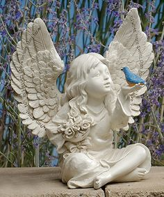 Another great find on #zulily! 8'' Blue Bird & Cherub Garden Figurine #zulilyfinds