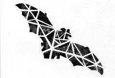 Original Geometric Black Bat Watercolor Painting / Halloween bat