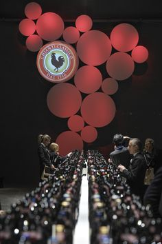 Chianti Classico logo and bottles at the preview 2012 in Florence.