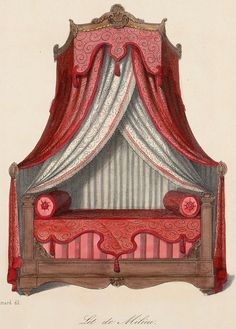Rococo Furniture, Pallet Furniture, Painted Furniture, Furniture Design, Curtain Drawing, Victorian Bed, Royal Bedroom, Interior Design Sketches, No Sew Curtains