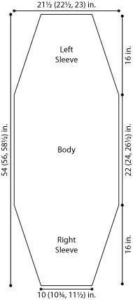 diagram for long sleeve shrug