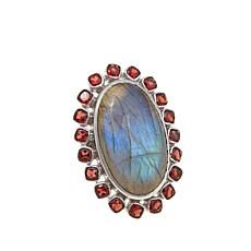 Rarities Fine Jewelry with Carol Brodie Rarities: Fine Jewelry with Carol Brodie Labradorite Cabachon and Cushion-Cut Garnet Sterling Silver Ring Garnet Jewelry, Garnet Rings, Sterling Silver Jewelry, Different Shades Of Red, My Birthstone, Rarity, Cushion Cut, Labradorite, Gemstone Rings