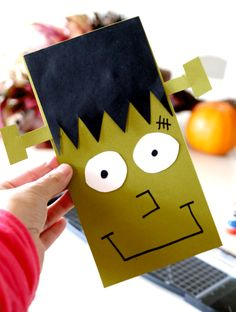 Frankenstein Paper Craft- Create a Lab, easy tutorial on how to create your own Frankenstein paper crafts for classrooms, at home and more! Enjoy Halloween with this inexpensive kids activity Halloween Crafts For Kids, Crafts For Boys, Halloween Themes, Halloween Fun, Halloween Decorations, Holiday Activities, Craft Activities, Paper Crafts, Diy Crafts