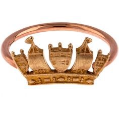 Annina Vogel Rose Gold Crown Ring ($500) ❤ liked on Polyvore featuring jewelry, rings, thin rings, red gold ring, rose gold jewelry, band jewelry and thin band rings